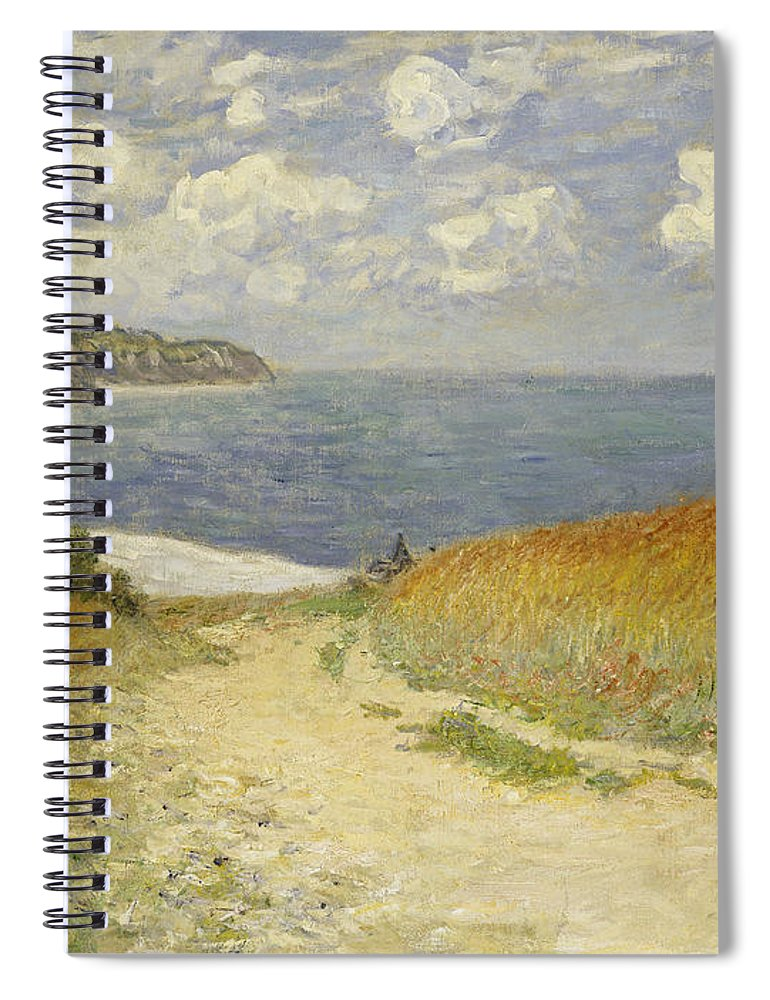 Path In The Wheat At Pourville Spiral Notebook featuring the painting Path In The Wheat At Pourville by Claude Monet