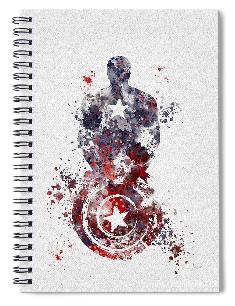 Captain America Spiral Notebook featuring the mixed media Patriotic Supersoldier by My Inspiration
