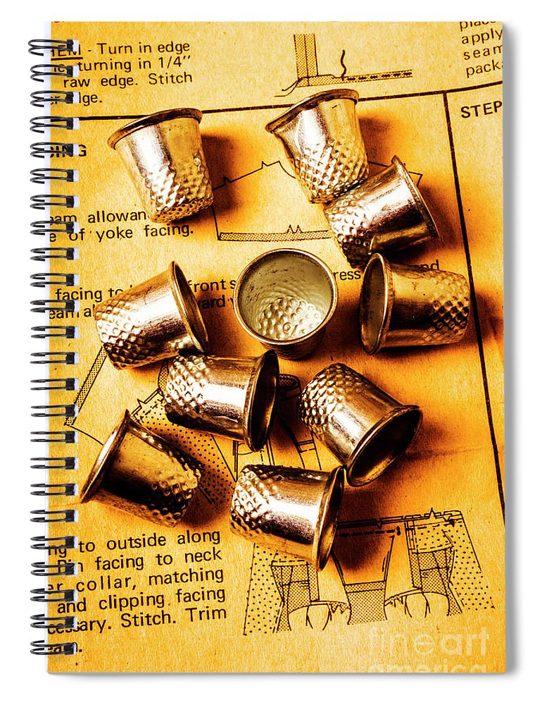 Thimble Spiral Notebook featuring the photograph Patterns And Thimbles by Jorgo Photography - Wall Art Gallery