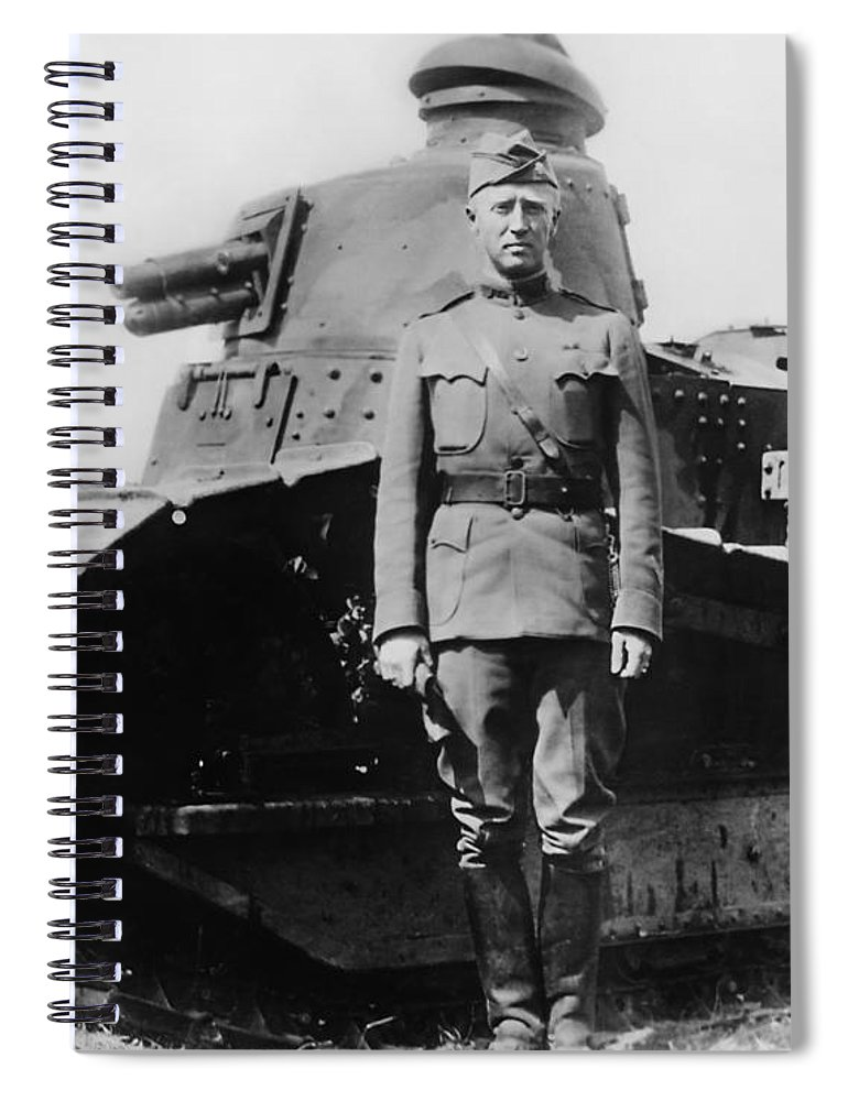 George Patton Spiral Notebook featuring the photograph Patton Beside a Renault Tank - WWI by War Is Hell Store