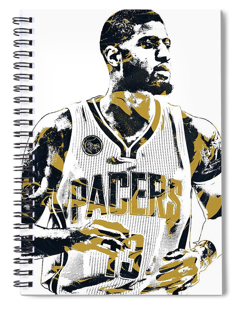 e7a85f312 Paul George Spiral Notebook featuring the mixed media Paul George Indiana  Pacers Pixel Art by Joe