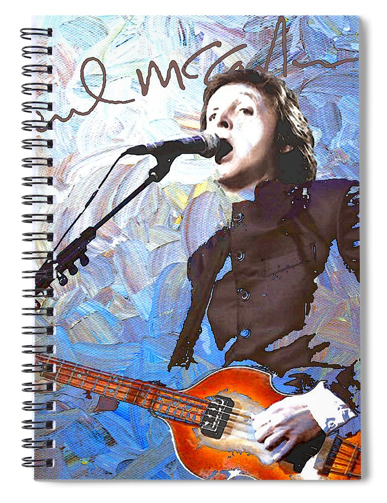 Paul Mccartney Spiral Notebook featuring the digital art Paul Mccartney One by Linda Mears
