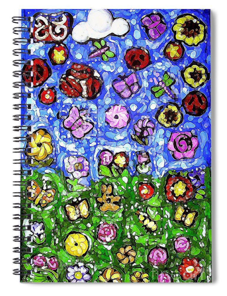 Flowers Spiral Notebook featuring the mixed media Peaceful Glowing Garden by Genevieve Esson