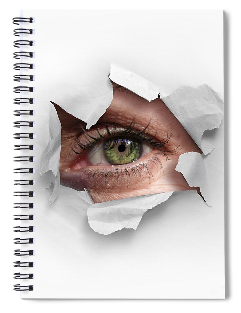 Abstract Spiral Notebook featuring the photograph Peek Through A Hole by Carlos Caetano