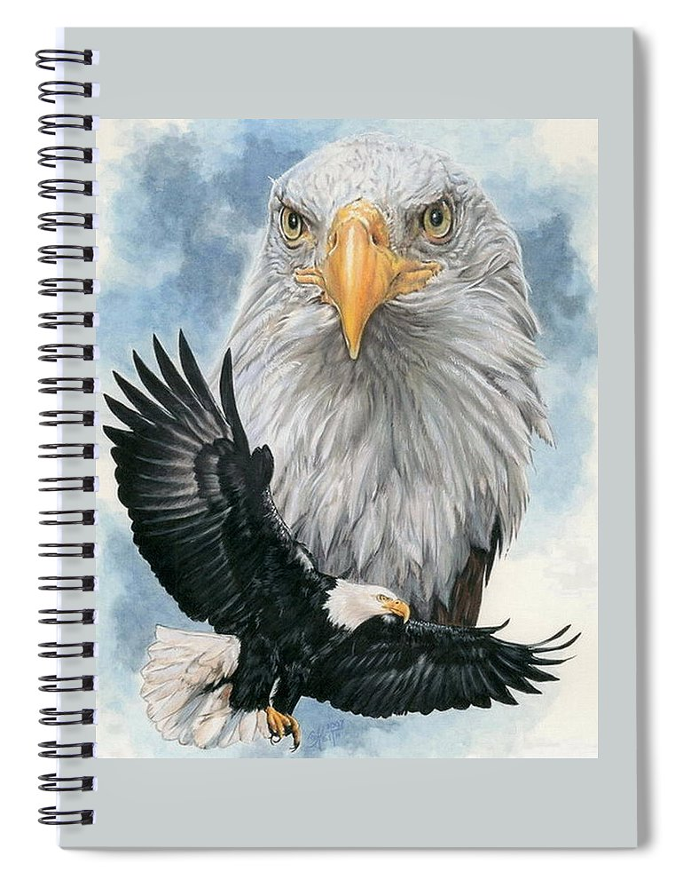 Bald Eagle Spiral Notebook featuring the mixed media Peerless by Barbara Keith