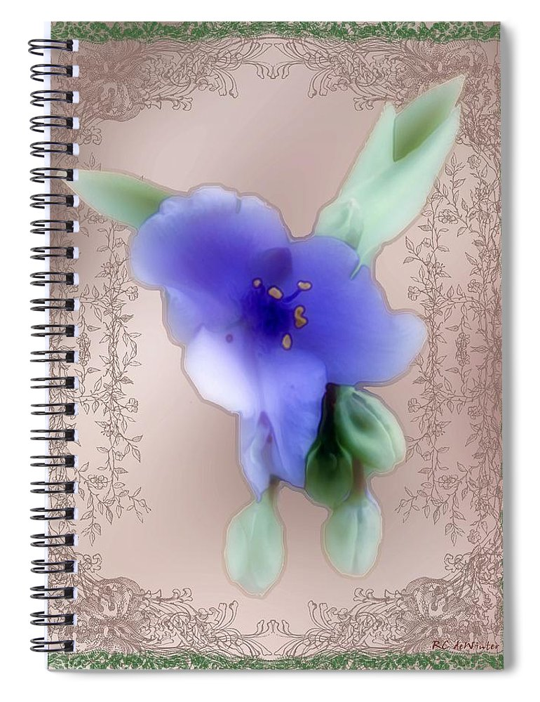 Blossoms Spiral Notebook featuring the painting Penny Postcard Wildflower by RC DeWinter
