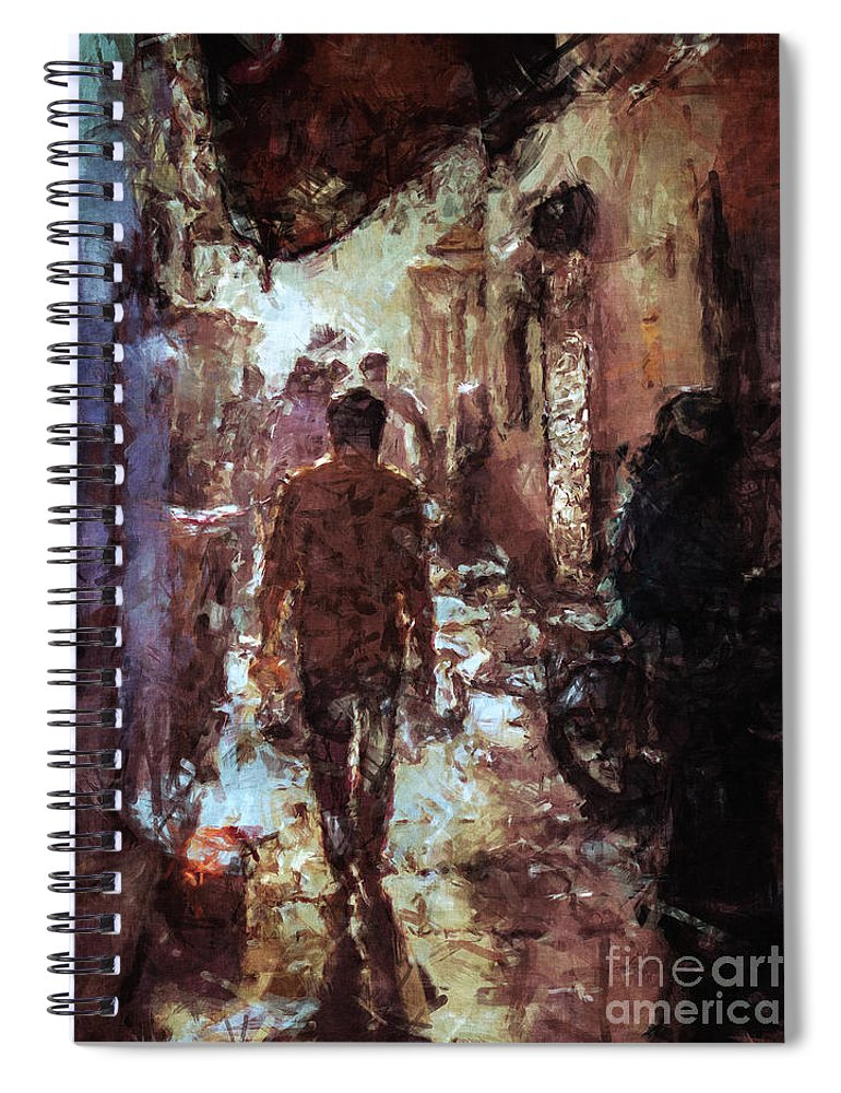 Alley Spiral Notebook featuring the digital art People In Alley by Phil Perkins