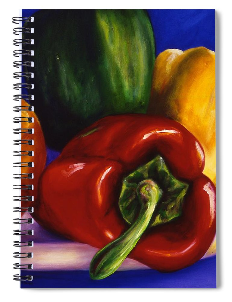Still Life Spiral Notebook featuring the painting Peppers on Peppers by Shannon Grissom