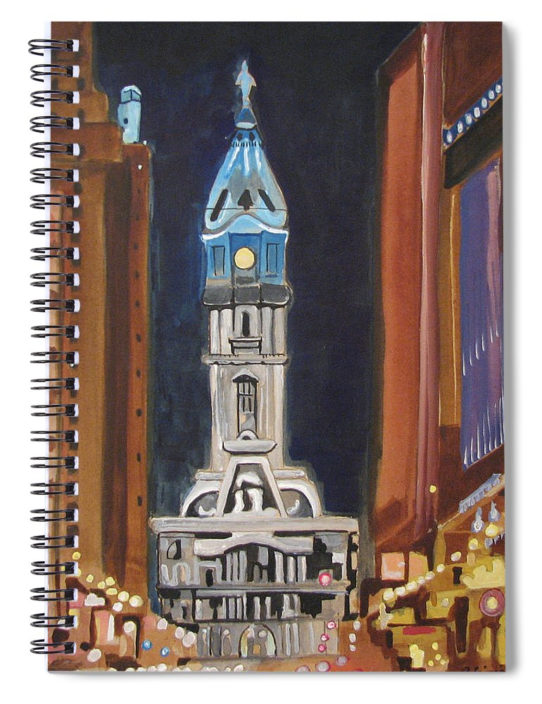 Landmarks Spiral Notebook featuring the painting Philadelphia City Hall by Patricia Arroyo