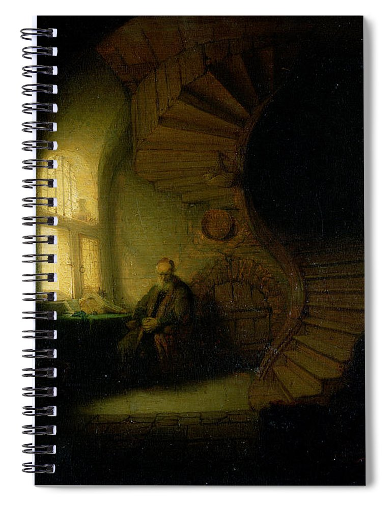 Philosopher Spiral Notebook featuring the painting Philosopher In Meditation by Rembrandt