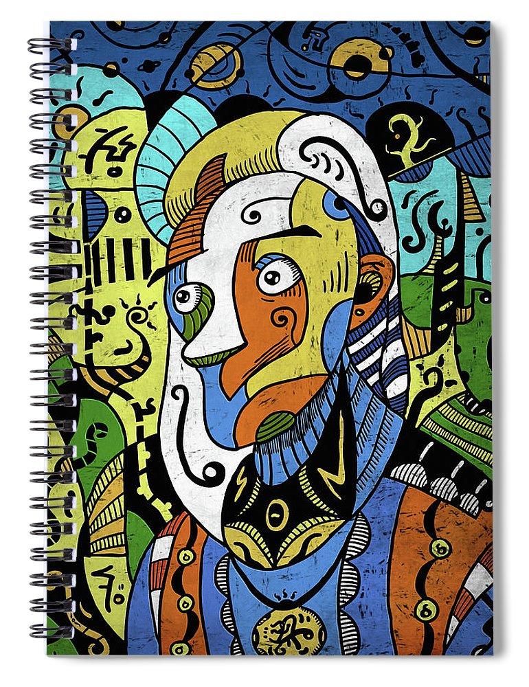 Philosopher Spiral Notebook featuring the digital art Philosopher by Sotuland Art