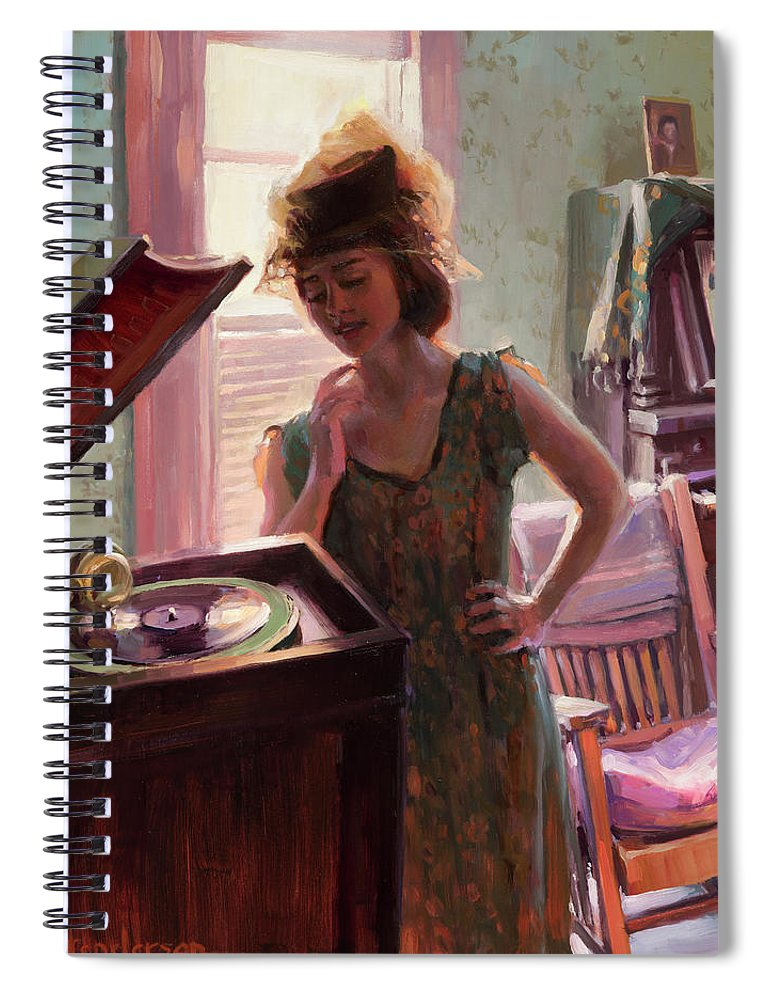 Nostalgia Spiral Notebook featuring the painting Phonograph Days by Steve Henderson