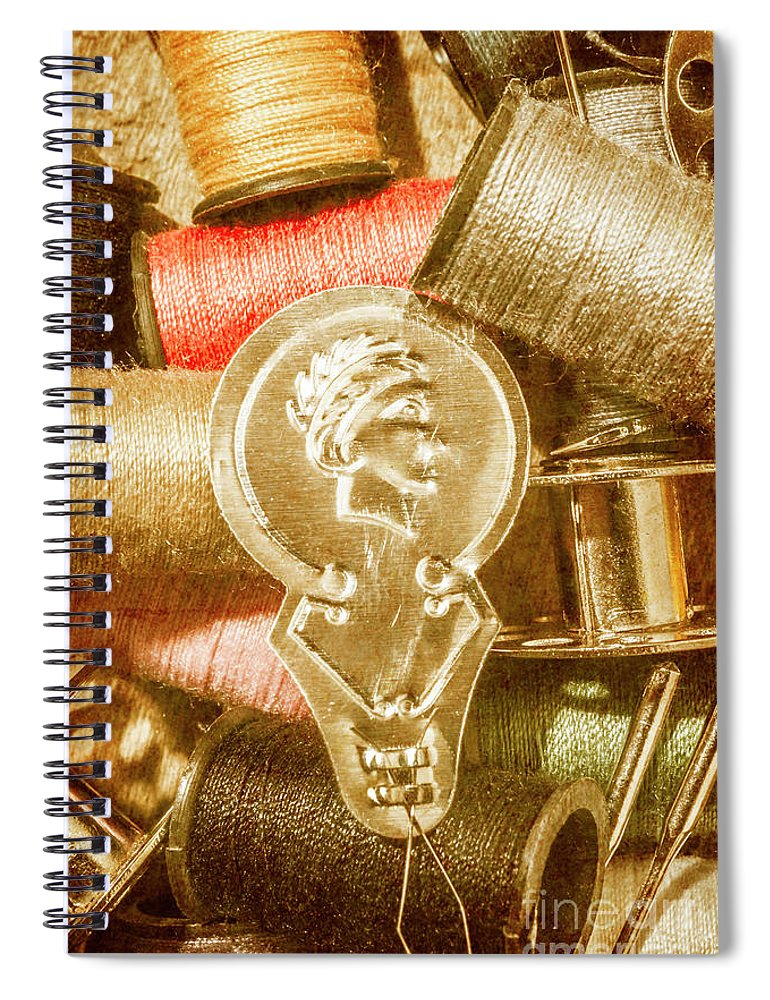Vintage Spiral Notebook featuring the photograph Pin And Vintage Stitch by Jorgo Photography - Wall Art Gallery