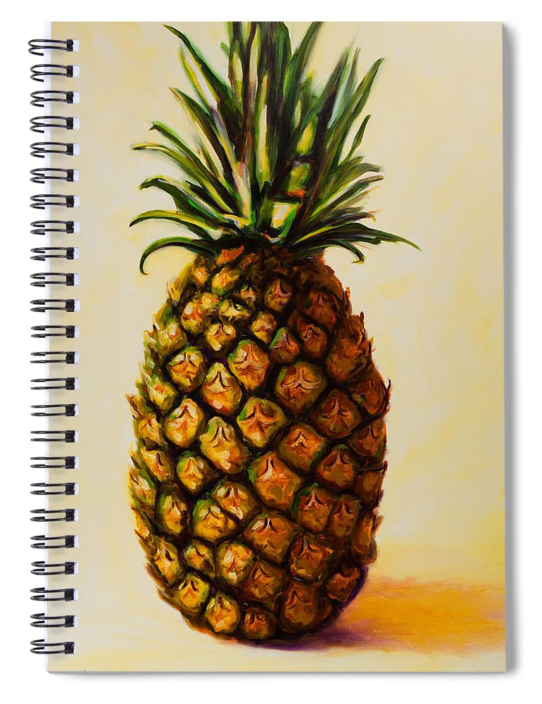 Pineapple Spiral Notebook featuring the painting Pineapple Angel by Shannon Grissom