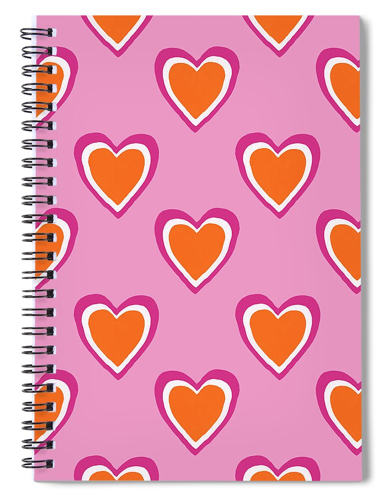 Hearts Spiral Notebook featuring the mixed media Pink And Orange Hearts- Art by Linda Woods by Linda Woods