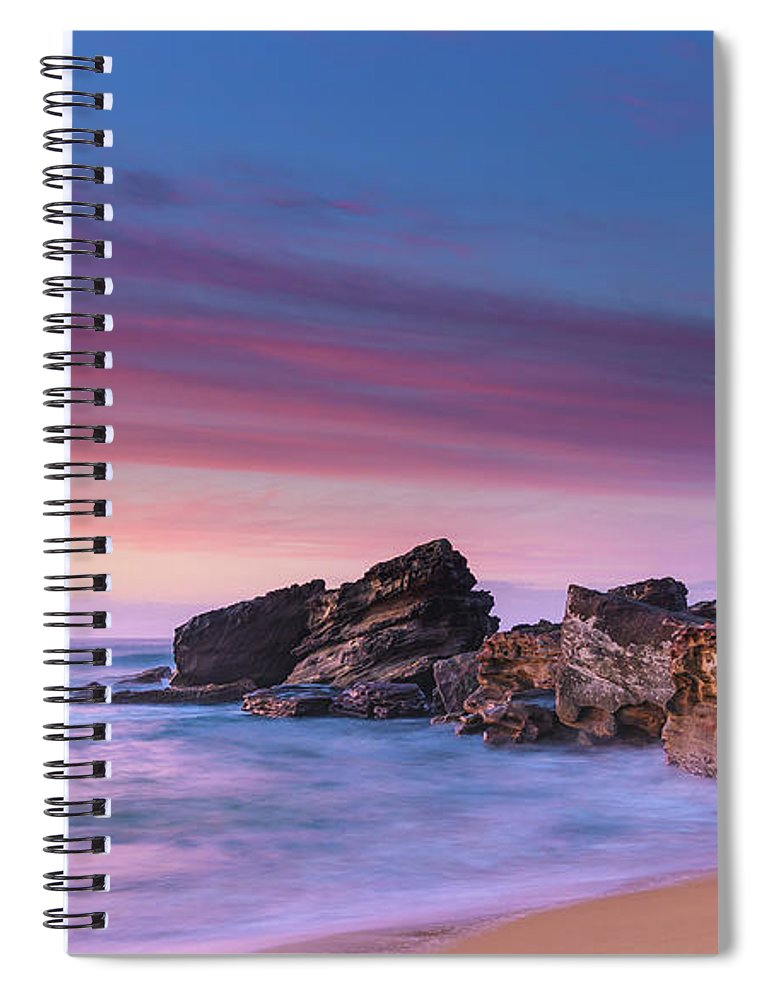 Australia Spiral Notebook featuring the photograph Pink Clouds And Rocky Headland Seascape by Merrillie Redden
