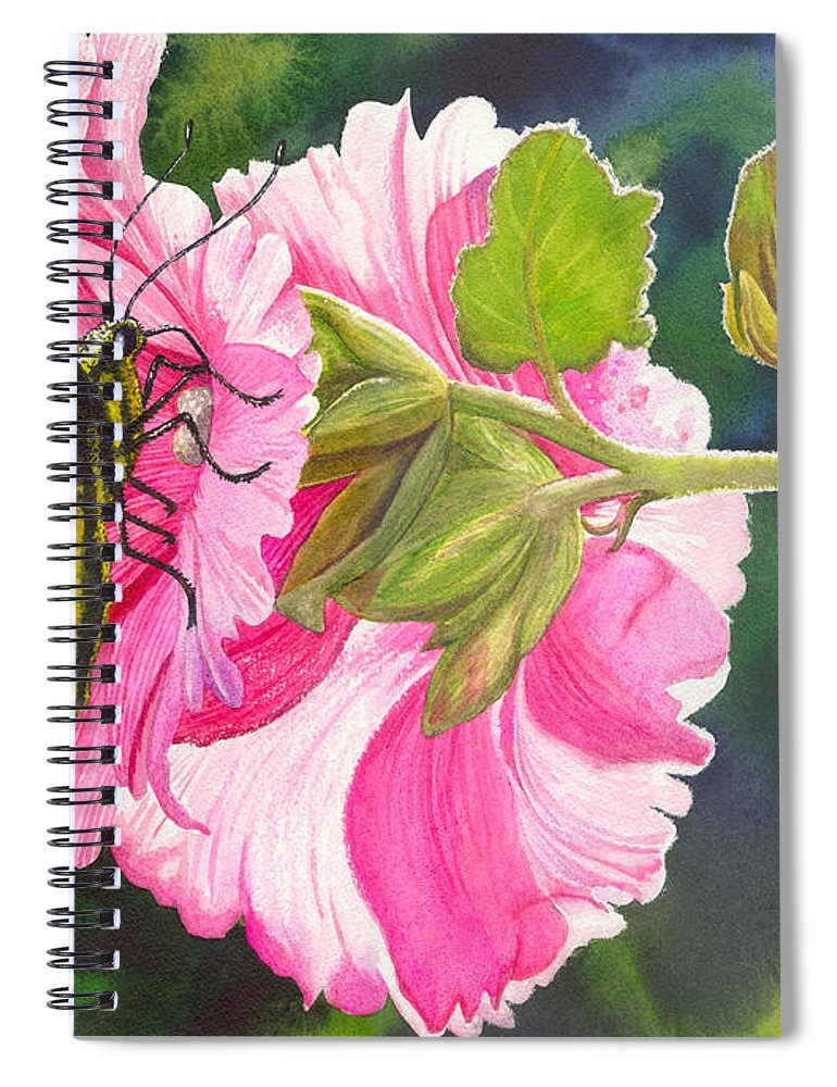 Hollyhock Spiral Notebook featuring the painting Pink Hollyhock by Catherine G McElroy