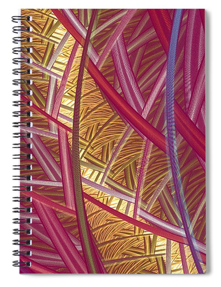 Fractal Spiral Notebook featuring the mixed media Pink Lines by Deborah Benoit