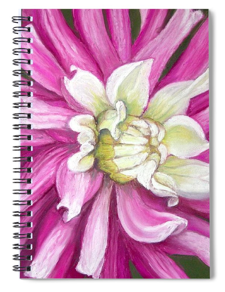 Floral Spiral Notebook featuring the painting Pink Petal Blast by Minaz Jantz