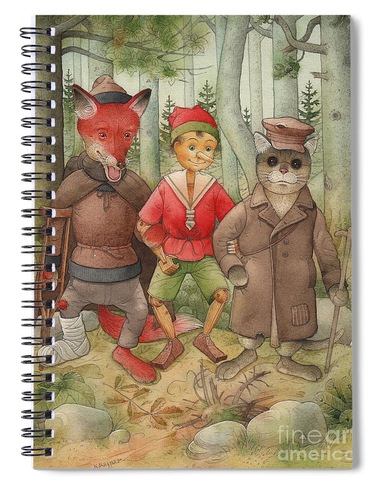 Cat Fox Forest Landscape Green Red Spiral Notebook featuring the painting Pinocchio01 by Kestutis Kasparavicius