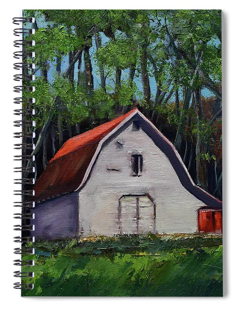 Pinson Barn Spiral Notebook featuring the painting Pinson Barn At Harrison Park by Jan Dappen