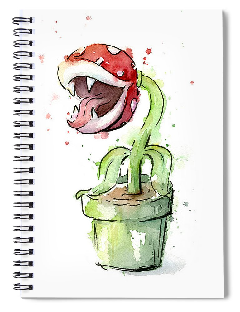 Piranha Spiral Notebook featuring the painting Piranha Plant Watercolor by Olga Shvartsur