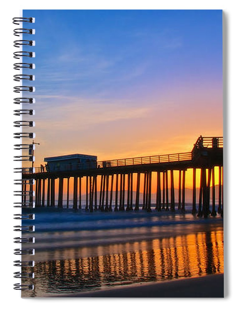 Nature Spiral Notebook featuring the photograph Pismo Beach and Pier Sunset by Zayne Diamond Photographic