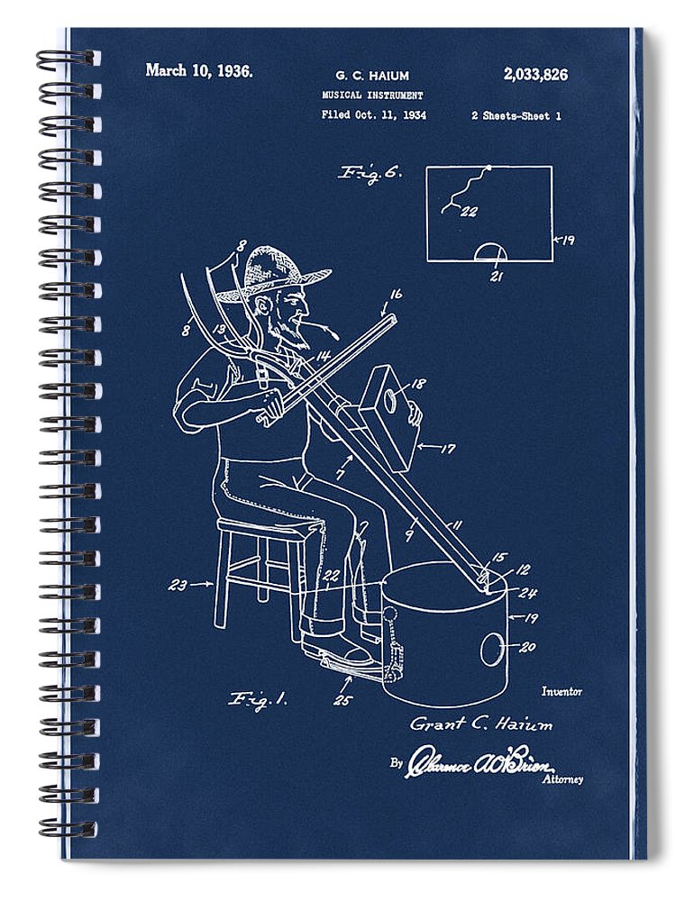 Pitch Spiral Notebook featuring the photograph Pitch Fork Fiddle And Drum Patent 1936 - Blue by Bill Cannon