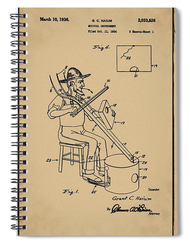 Pitch Spiral Notebook featuring the photograph Pitch Fork Fiddle And Drum Patent 1936 - Sepia by Bill Cannon