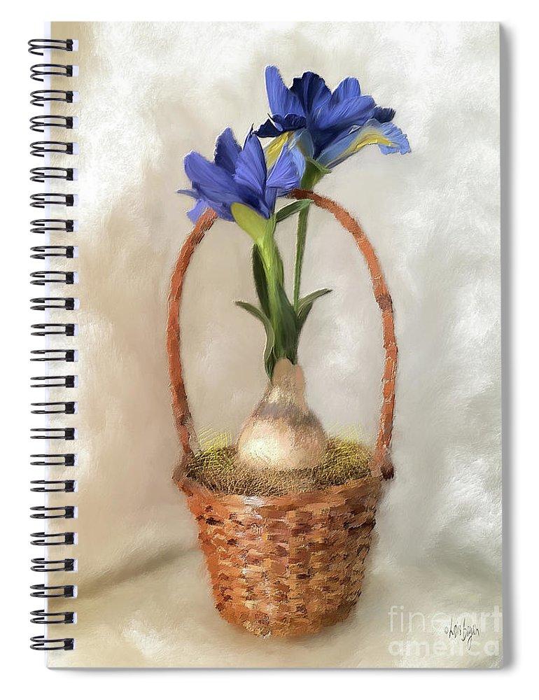 Iris Spiral Notebook featuring the digital art Plain Blue Iris by Lois Bryan