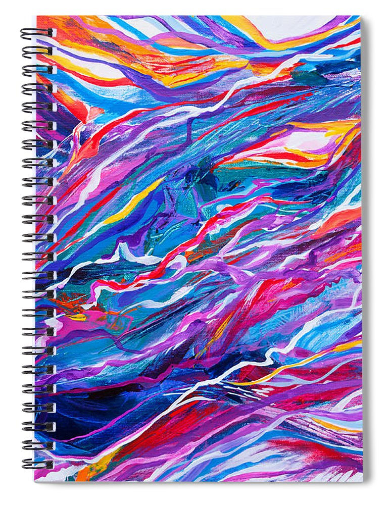 Filaments Lines Strokes Rushing Water Full Of Vibrant Color And Dynamic Movement Energy Contemporary Original Abstract Spiral Notebook featuring the painting Playful stream by Priscilla Batzell Expressionist Art Studio Gallery