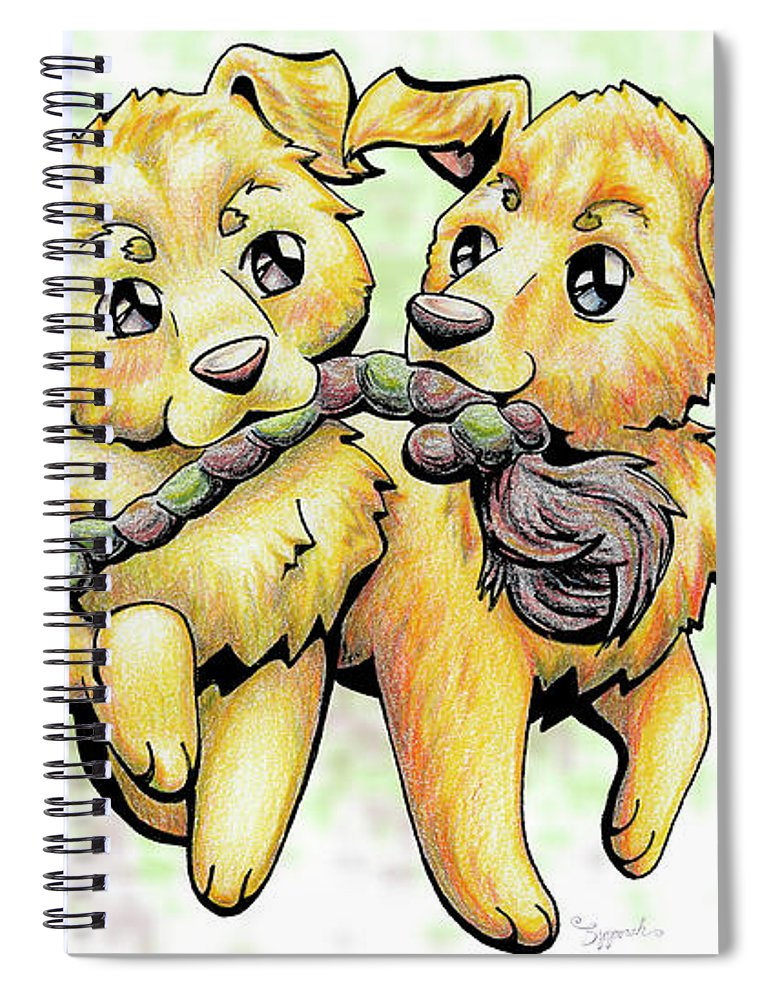 Puppy Spiral Notebook featuring the drawing Playtime Golden Retriever by Sipporah Art and Illustration