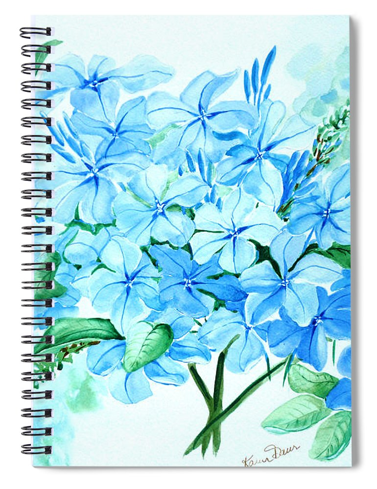 Floral Blue Painting Plumbago Painting Flower Painting Botanical Painting Bloom Blue Painting Spiral Notebook featuring the painting Plumbago by Karin Dawn Kelshall- Best