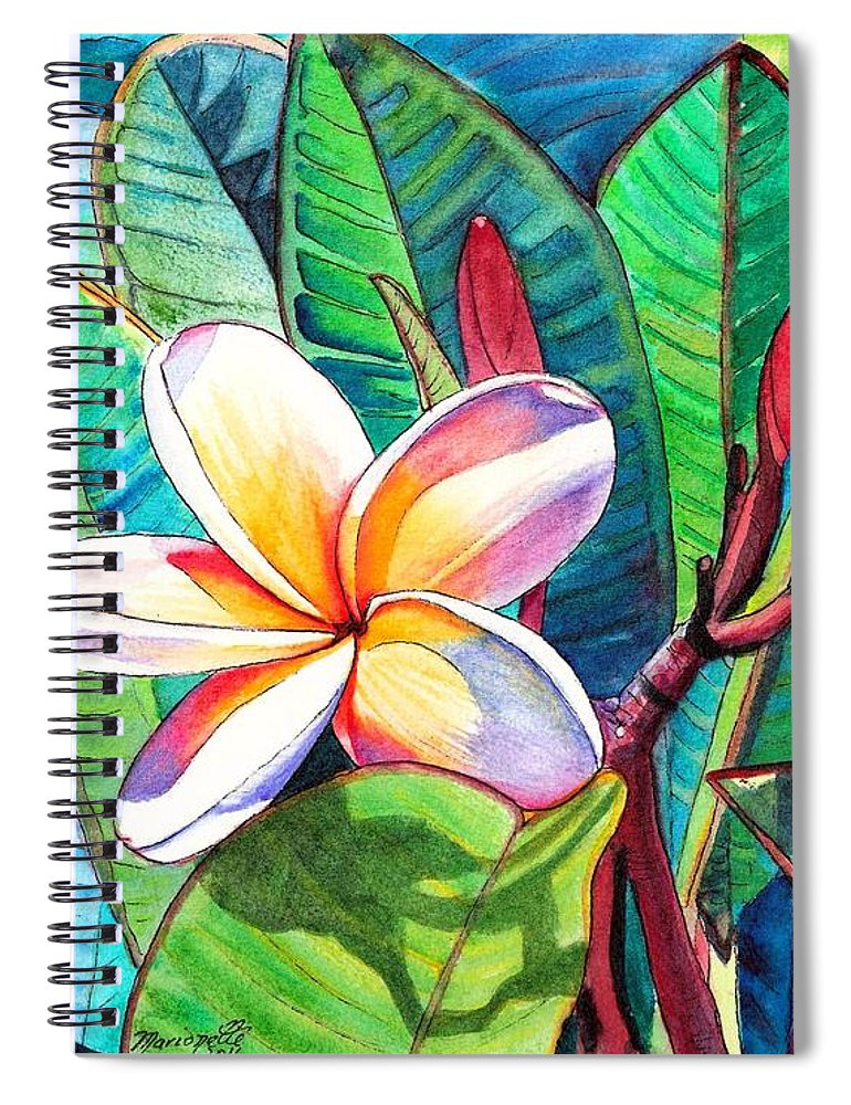 Plumeria Spiral Notebook featuring the painting Plumeria Garden by Marionette Taboniar