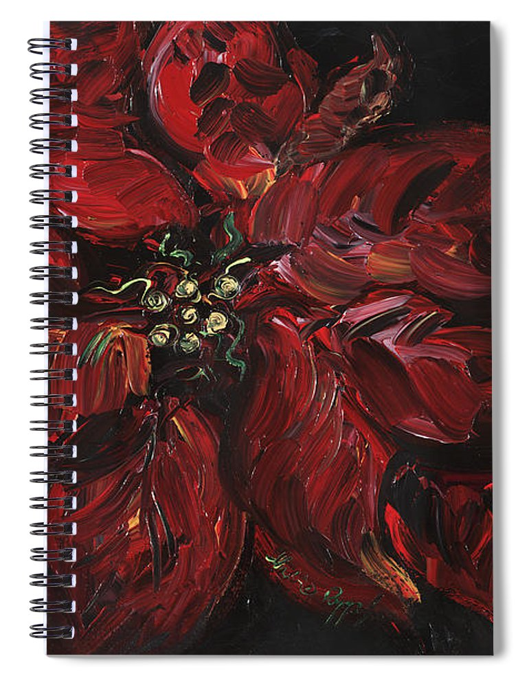 Abstract Spiral Notebook featuring the painting Poinsettia by Nadine Rippelmeyer