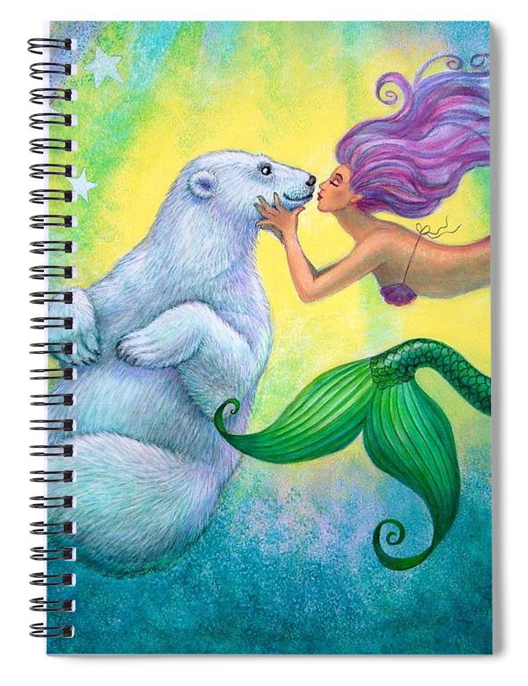 Mermaids Spiral Notebook featuring the painting Polar Bear Kiss by Sue Halstenberg