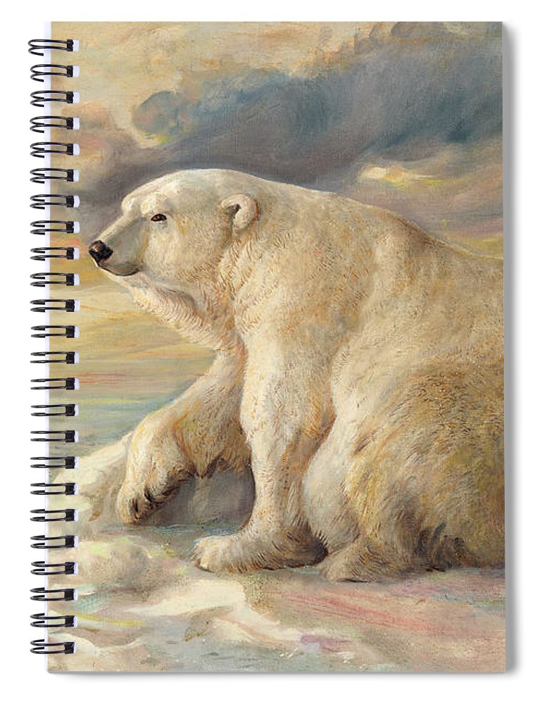 Polar Bear Spiral Notebook featuring the painting Polar Bear Rests On The Ice - Arctic Alaska by Svitozar Nenyuk