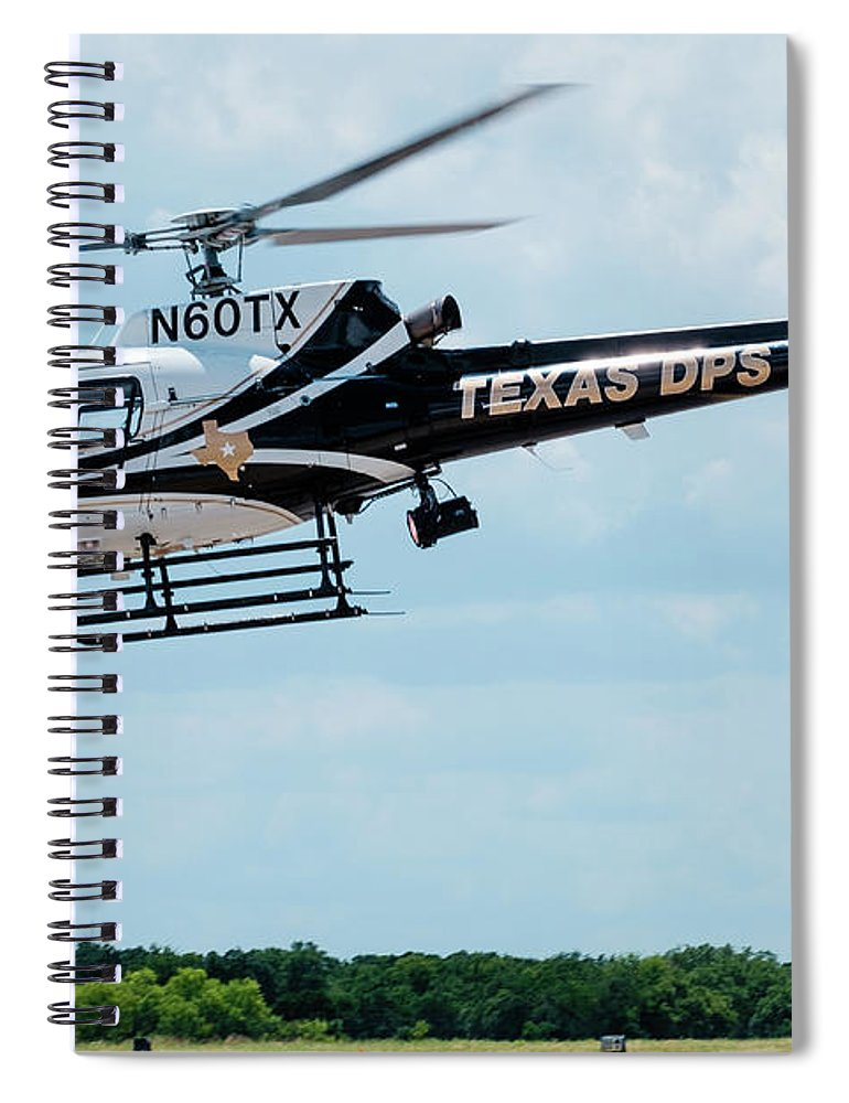 Eurocopter As350 Spiral Notebook featuring the photograph Police Helicopter Taking Off by Philip Duff