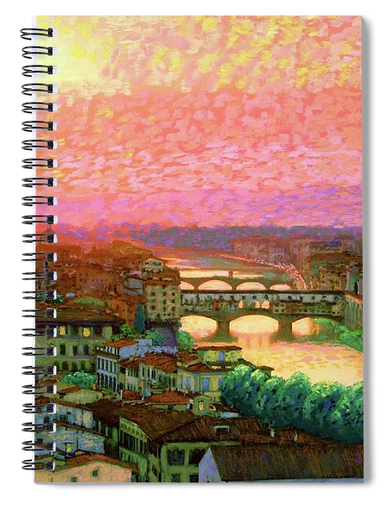 Italy Spiral Notebook featuring the painting Ponte Vecchio Sunset Florence by Jane Small