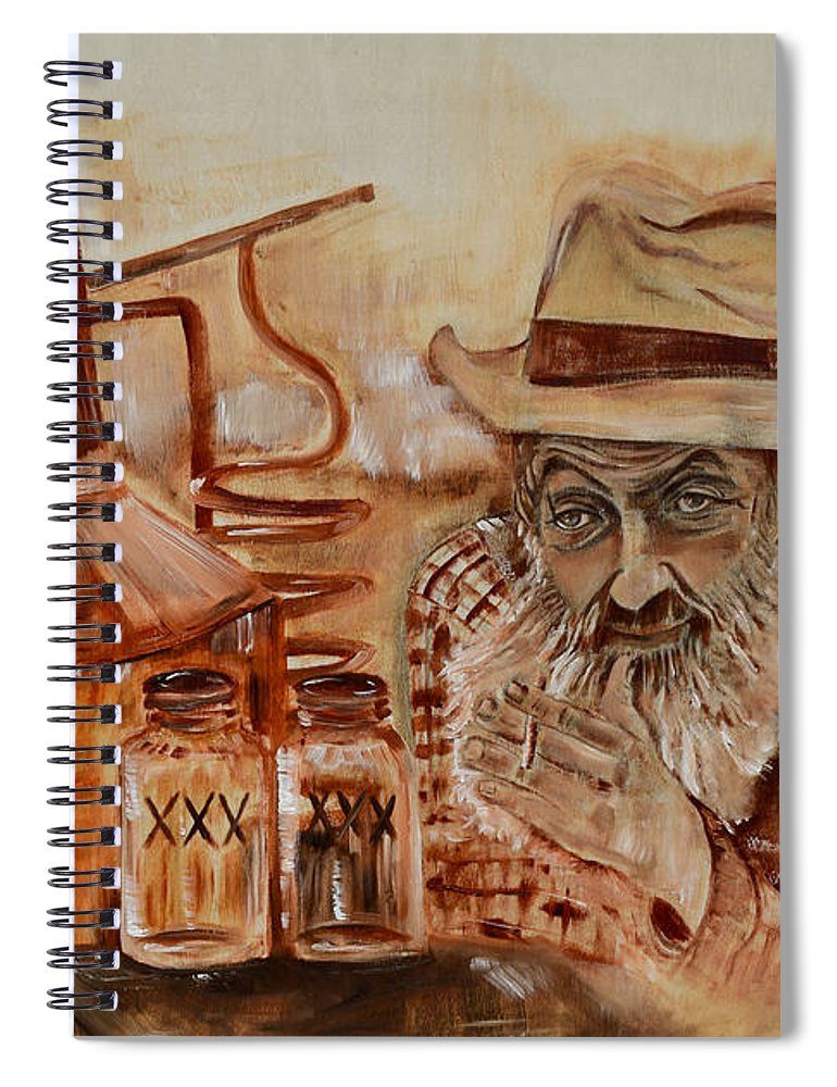 Popcorn Sutton Spiral Notebook featuring the painting Popcorn Sutton - Waiting On Shine by Jan Dappen
