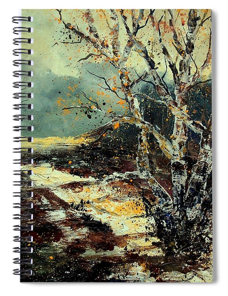 Tree Spiral Notebook featuring the painting Poplars 45 by Pol Ledent