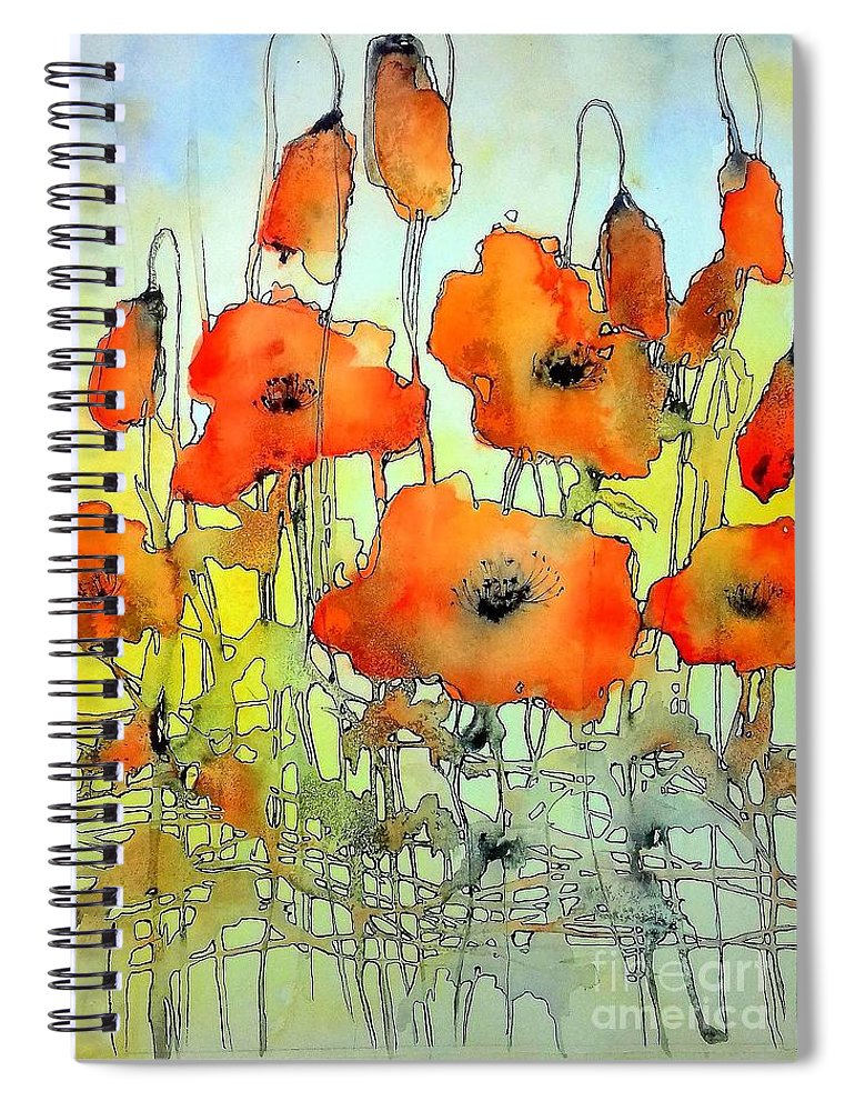 Red Spiral Notebook featuring the painting Poppies Abstraction by Suzann Sines