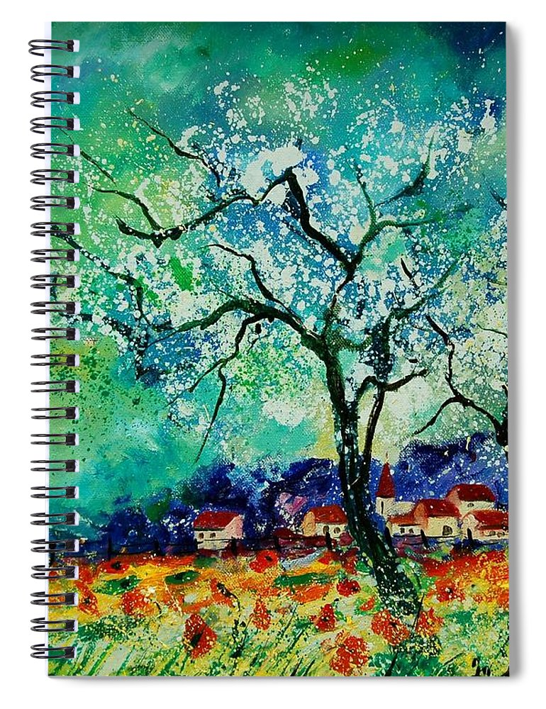 Landscape Spiral Notebook featuring the painting Poppies and appletrees in blossom by Pol Ledent