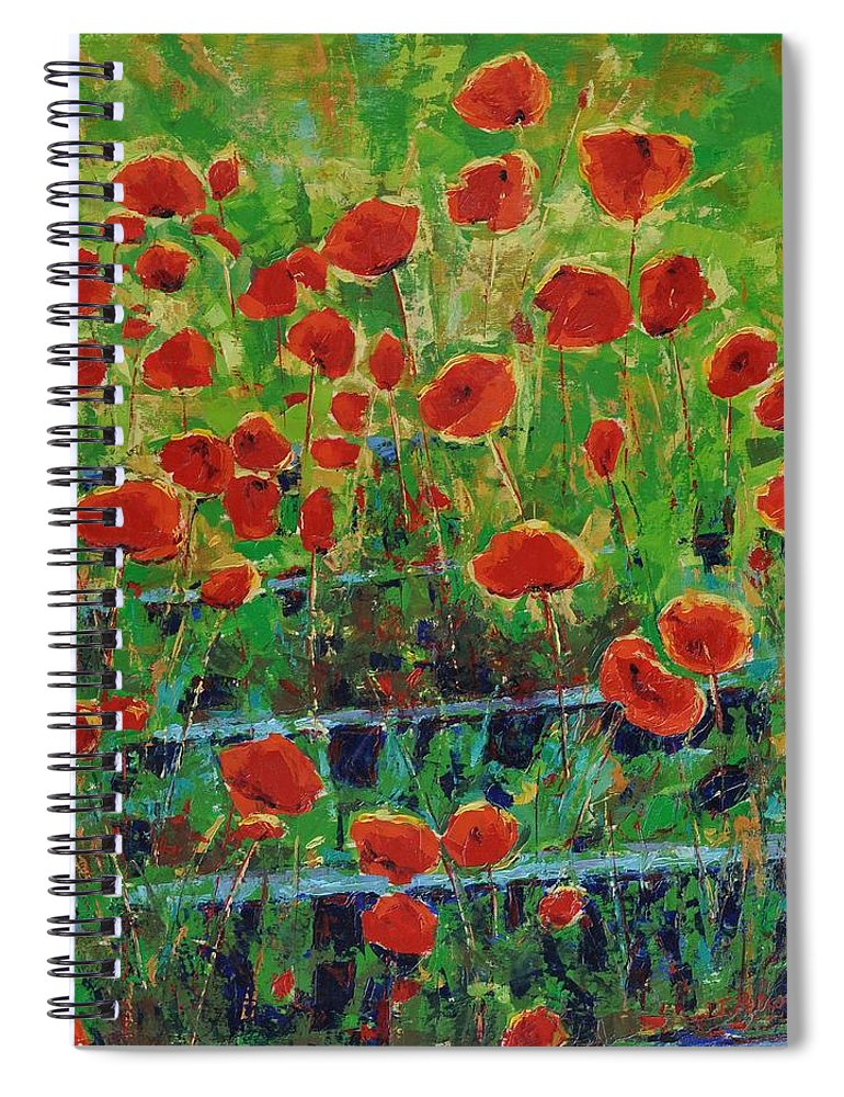 Poppies Spiral Notebook featuring the painting Poppies And Traverses 1 by Iliyan Bozhanov