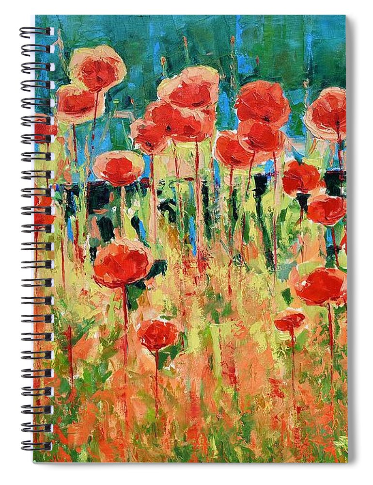 Poppies Spiral Notebook featuring the painting Poppies And Traverses 2 by Iliyan Bozhanov