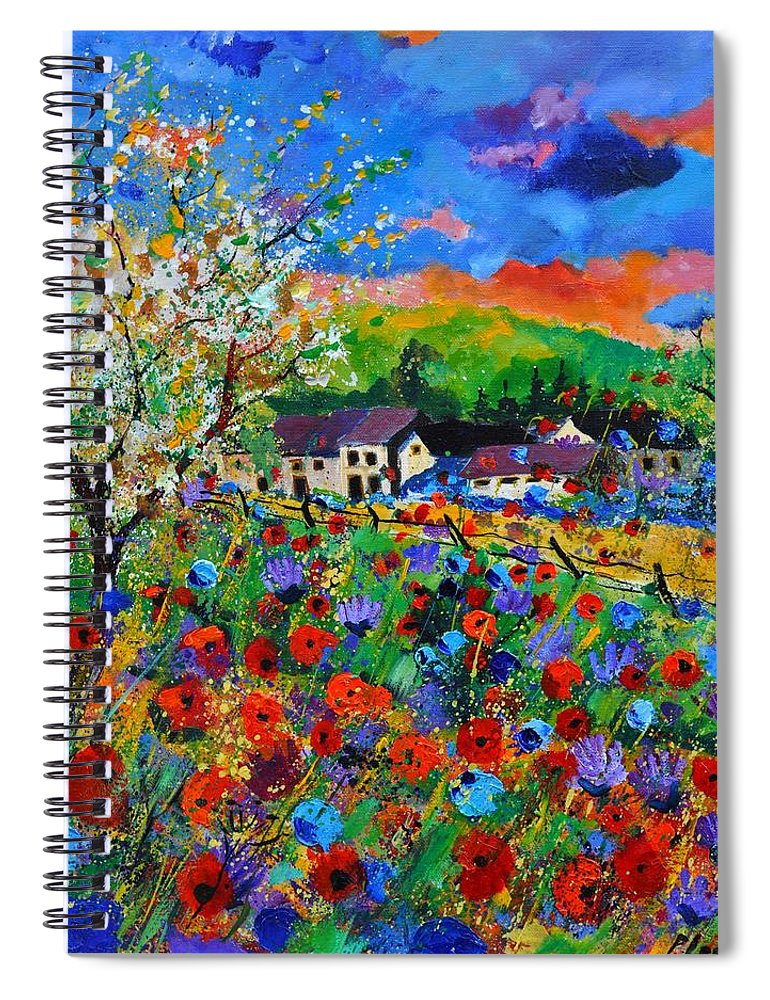 Poppies Spiral Notebook featuring the painting Poppies in Sorinnes by Pol Ledent
