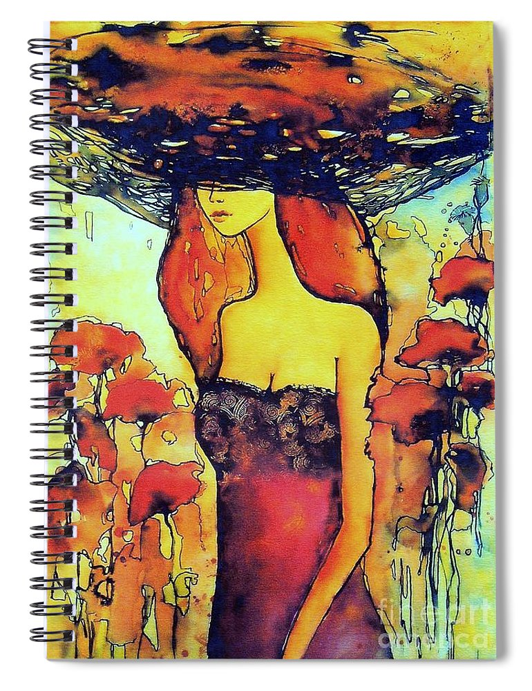 Red Spiral Notebook featuring the painting Poppies Lady by Suzann Sines