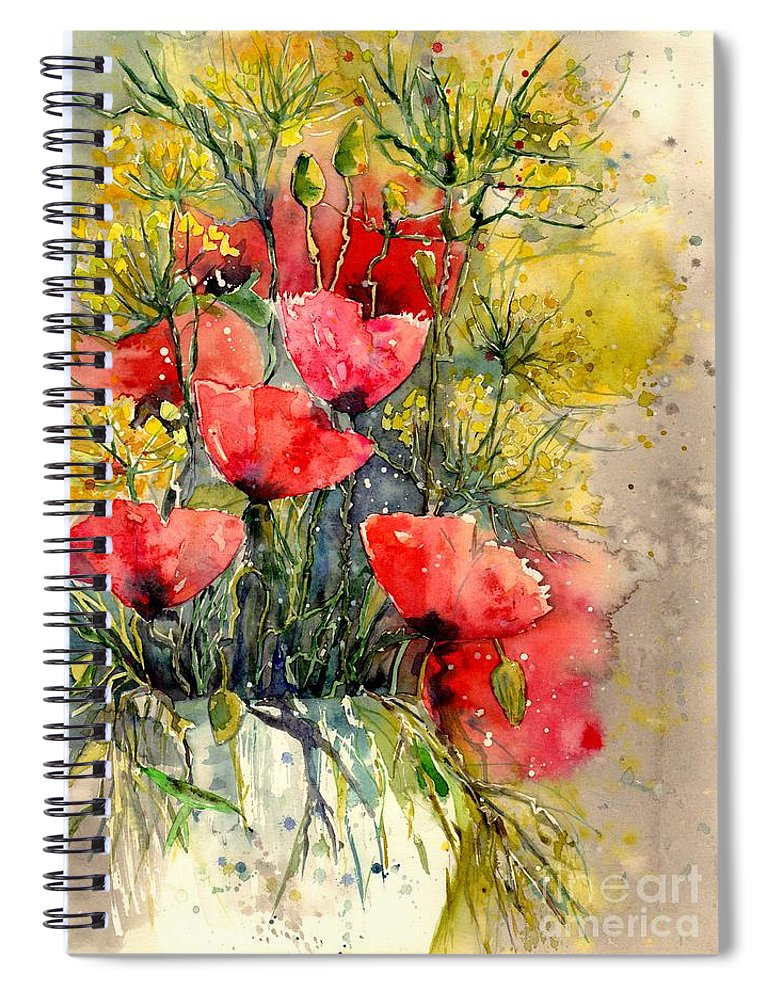Red Spiral Notebook featuring the painting Poppy Impression by Suzann Sines