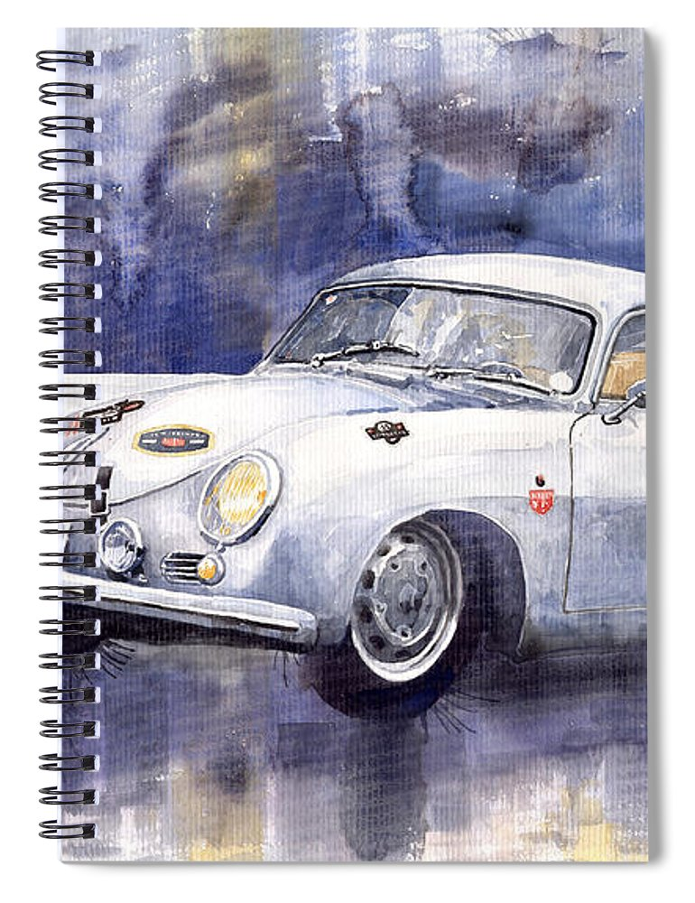 Watercolour Spiral Notebook featuring the painting Porsche 356 Coupe by Yuriy Shevchuk