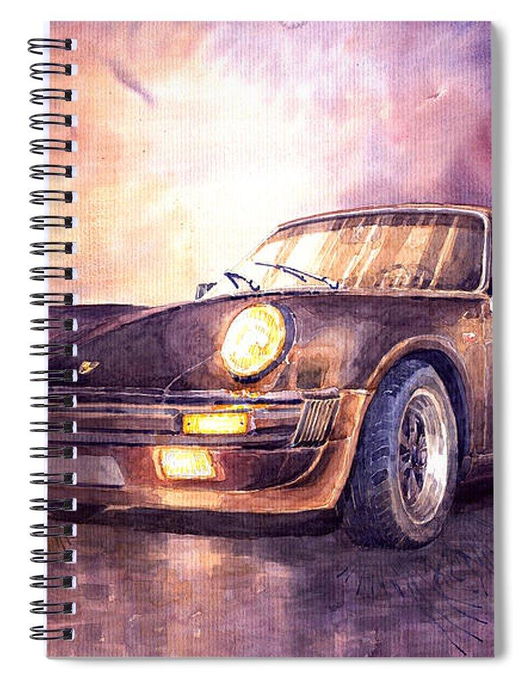 Shevchukart Spiral Notebook featuring the painting Porsche 911 Turbo 1979 by Yuriy Shevchuk